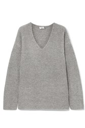Frame Oversized Ribbed Knit Sweater Gray