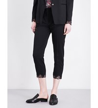The Kooples Lace Detail Stretch Wool Trousers Bla01