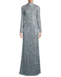 Parker Black Leandra Sequin High Neck Long Sleeve Gown Silver