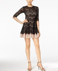 Betsy And Adam Petite Lace Fit Flare Mini Dress Black Nude