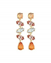 Lydell Nyc Delicate Multi Crystal Dangle Earrings Brown