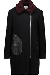 Sandro Maya Shearling And Leather Trimmed Wool Blend Coat Black