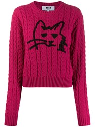Msgm Cable Knit Cat Sweater Pink