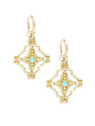 Armenta Sueno Diamond Sapphire Blue Reconstituted Turquoise Rainbow Moonstone And 18K Yellow Gold Drop Earrings