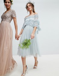 Maya Embellished Bardot Layered Midaxi Dress In Ice Blue Blue