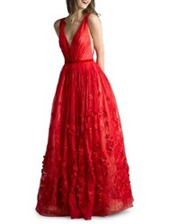 Basix Ii Deep V Back Floor Length Gown Red
