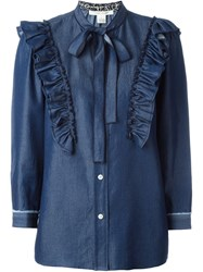 Marc Jacobs Ruffled Denim Blouse Blue