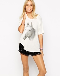 Wildfox Couture Wildfox Oversized T Shirt With Animal Horse Print White