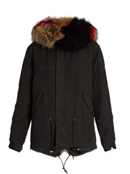 Mr And Mrs Italy Fur Lined Canvas Mini Parka Black Multi