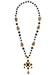 Dolce And Gabbana Long Beaded Cross Necklace Black