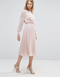Warehouse Satin And Lace Panelled Midi Dress Pale Pink