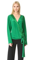 Diane Von Furstenberg Long Sleeve Cross Over Blouse Green Envy