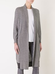Loveless Contrast Panel Drape Long Cardigan Grey