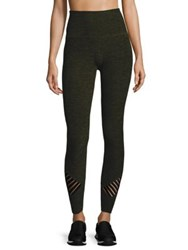 Beyond Yoga Stacked And Sliced High Waisted Midi Leggings Black Aviator Green