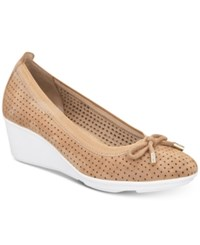 0154c62a4348 Anne Klein Sport Carissa Perforated Slip On Wedge Pumps Natural