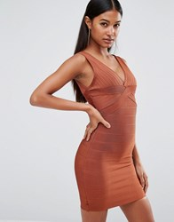 Wow Couture Bandage Plunge Front Midi Dress Maroon Brown