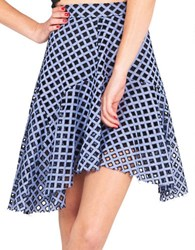 Kendall Kylie Asymmetrical Fit And Flare Skirt Blue White