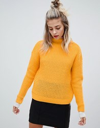 Noisy May Cable High Neck Knit Yellow