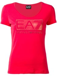 Emporio Armani Ea7 Embellished Logo T Shirt Red