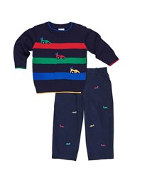 Florence Eiseman Race Car Stripe Sweater W Embroidered Twill Pants Navy