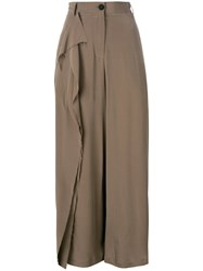 Isabel Benenato Ruffled Detail Straight Trousers Brown
