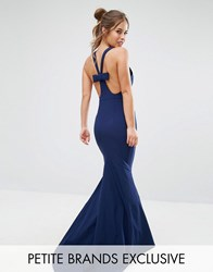 Jarlo Petite Halterneck Maxi Dress With Bow Back Detail Navy
