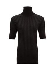 Bottega Veneta Stand Collar Ribbed Wool Blend Sweater Black