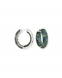 Alexander Laut Blue Sapphire And Tsavorite Hoop Earrings