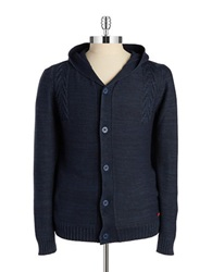 Strellson Hooded Knit Cardigan Indigo