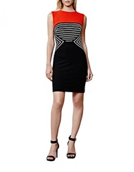 Julia Jordan Plus Colorblocked And Striped Sheath Dress Black Ivory Red