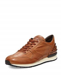 Tod's Burnished Leather Trainer Sneaker Cognac Brown