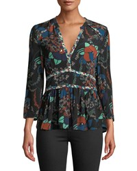 Baandsh Alix Floral 3 4 Sleeve V Neck Top Black