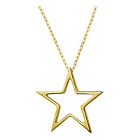 London Road 9Ct Gold Portobello Starry Night Open Star Pendant Gold