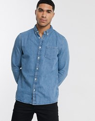 Burton Menswear Denim Shirt In Light Wash Blue