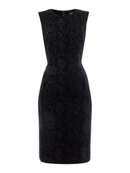 Episode Sleeveless Velvet Dress With Reptile Print Black