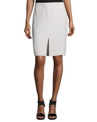 Halston Mid Rise Front Slit Pencil Skirt Dark Bone