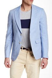 Gant R. Summer Twill Two Button Peaked Lapel Blazer Blue