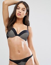 New Look Geo Mesh And Contrast Cuff Push Up Bra Black