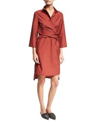 Brunello Cucinelli Crinkled Wrap Front Shirtdress Red