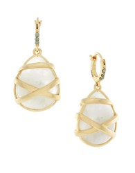 Cole Haan Moonstone And 12K Gold Plated Wrapped Drop Earrings