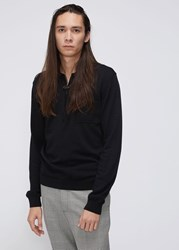 Cmmn Swdn 'S Curtis Zip Polo Shirt Sweater In Black Size Small 100 Merino Wool