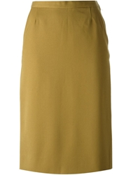 Yves Saint Laurent Vintage Straight Skirt Nude And Neutrals