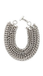 Alexander Wang 3 Row Box Chain Necklace Silver
