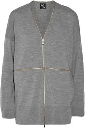 Mcq By Alexander Mcqueen Zip Embellished Wool Cardigan Gray