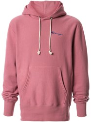 Champion Embroidered Logo Hoodie Pink