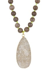 Panacea Druzy Stone And Beaded Necklace Multi