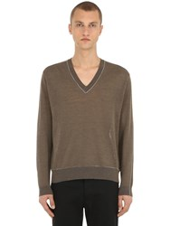 Falke Luxury V Neck Linen Blend Knit Sweater Moss