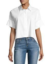 Alice Olivia Edyth Short Sleeve High Low Drapey Button Down Shirt White