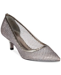 Adrianna Papell Lois Evening Pumps Women's Shoes Gunmetal Honeycomb Mesh
