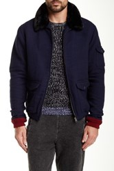 Native Youth Faux Fur Collar Flight Jacket Blue